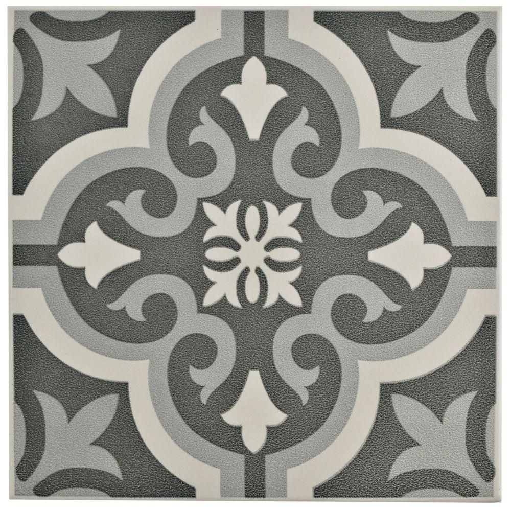 Merola tile braga black 7 34 in x 7 34 in ceramic floor and wall merola tile braga black 7 34 in x 7 3 dailygadgetfo Gallery