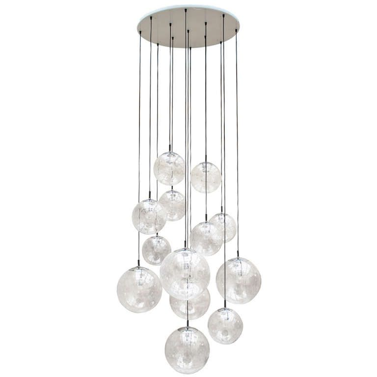 Impressive extra large glass ball chandelier by raak amsterdam 6 impressive xxl glass balls chandeliers by raak amsterdam holland 1960 from a unique collection of antique and modern chandeliers and pendants at aloadofball Image collections