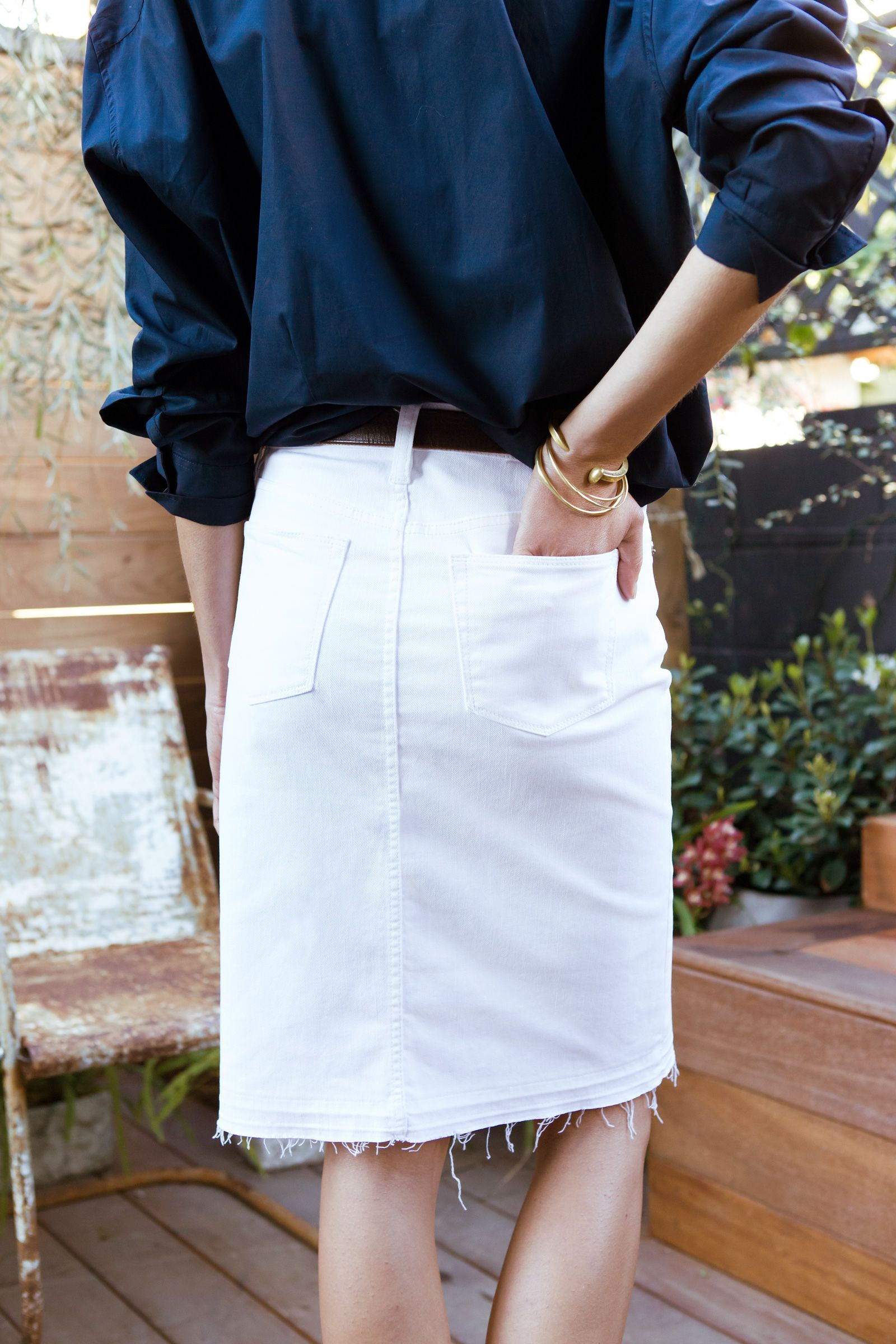 1ef8f272ae J.Crew x Jean Stories: Stylist Lawren Howell wearing the white denim skirt  from the spring/summer J.Crew denim collection. Read more on jcrew.com/blog.