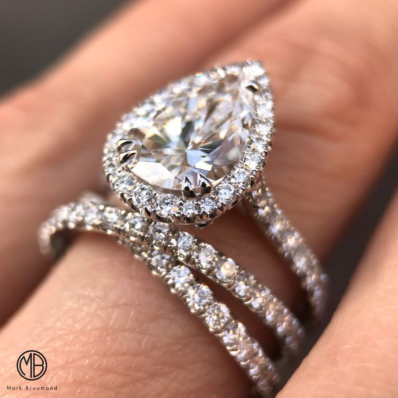 Our Crisscross Wedding Band Compliments This Pear Engagement Ring