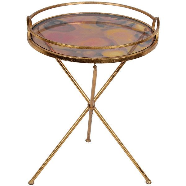 Privilege Round Glass Accent Table ($60) ❤ Liked On Polyvore Featuring  Home, Furniture