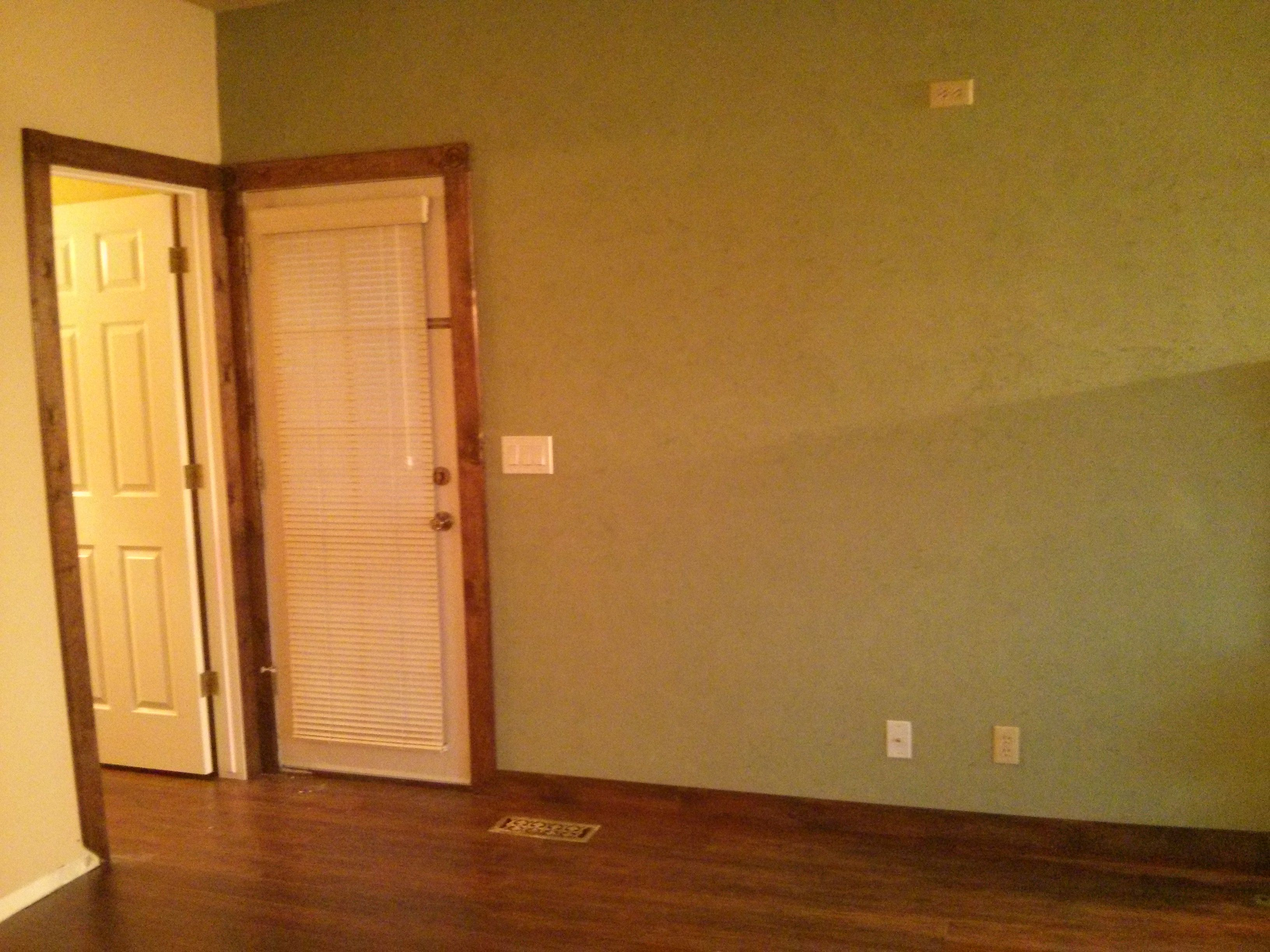 Green Venetian Plaster In The Dining Room Laminate Flooring And Hand Routed Pine Baseboards