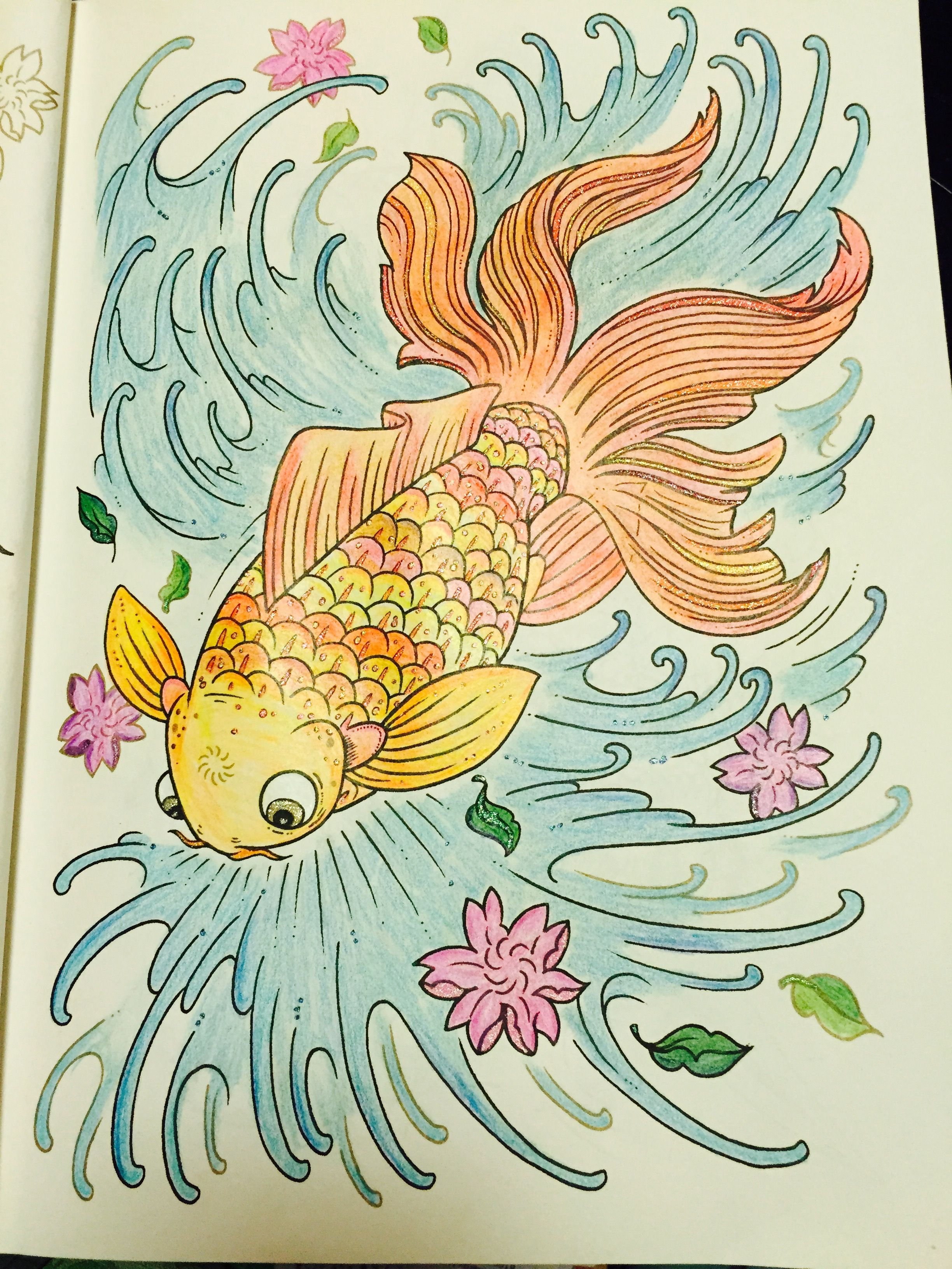 The tattoo coloring book megamunden - Koi Fish From Megamunden S Tattoo Coloring Book With Staedtler Ergosoft Pencils Just A Touch Of