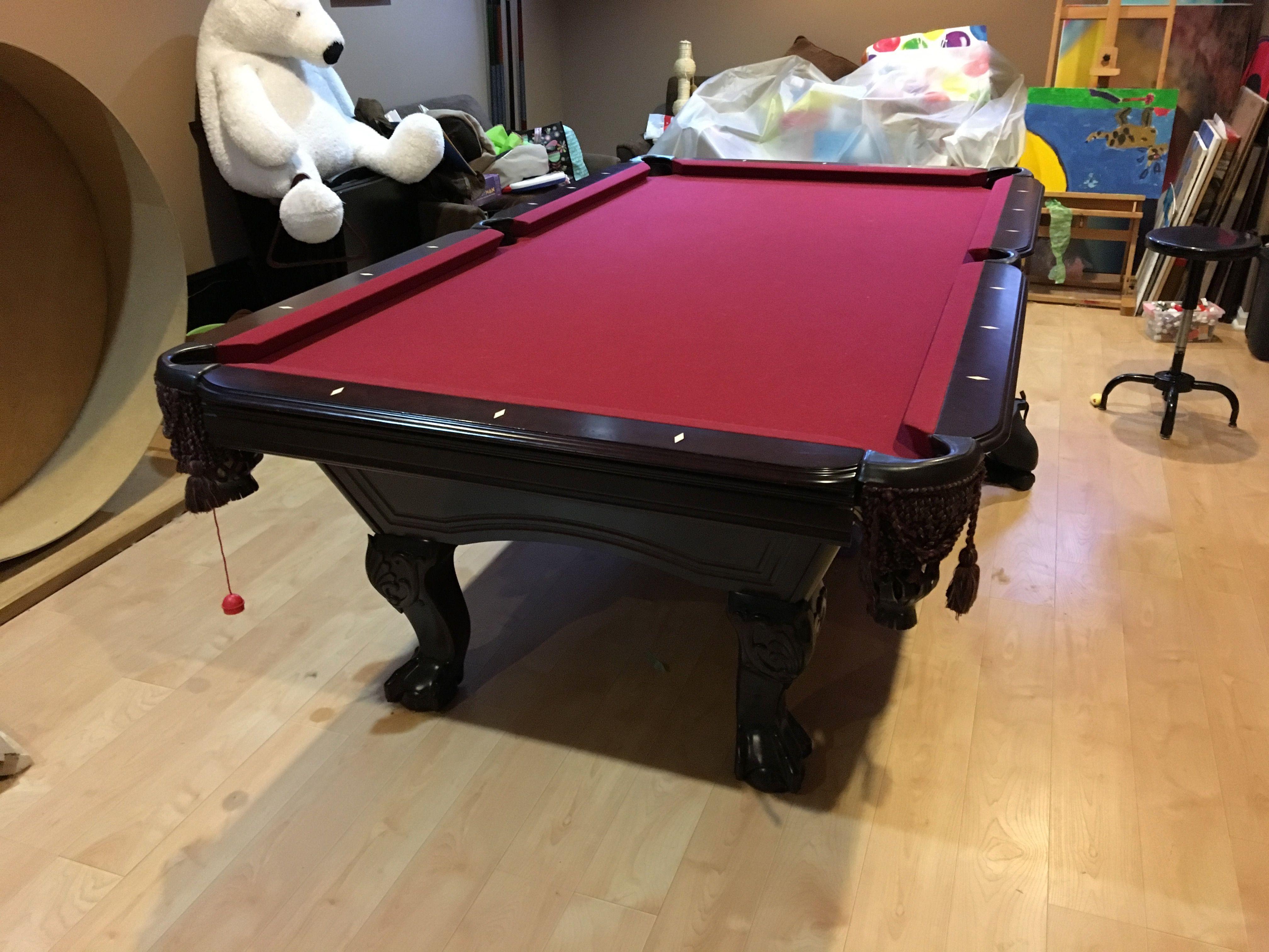Mahogany Solid Wood Dlt 8 Pool Table 3 Piece Genuine Slate