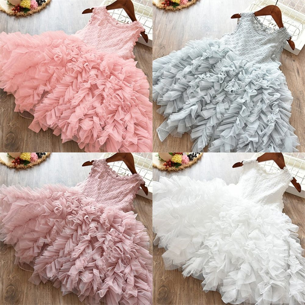 New Toddler Kid Baby Girl Summer Ruffle Dress Princess Wedding Party Tutu Skirt