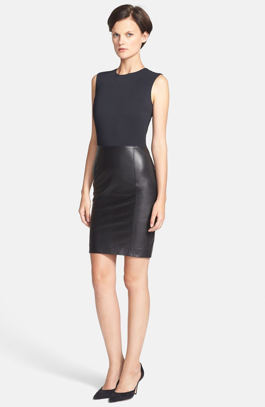 e90d42c289e Vince Sleeveless Leather & Ponte Dress | Nordstrom | ◥ Style ...