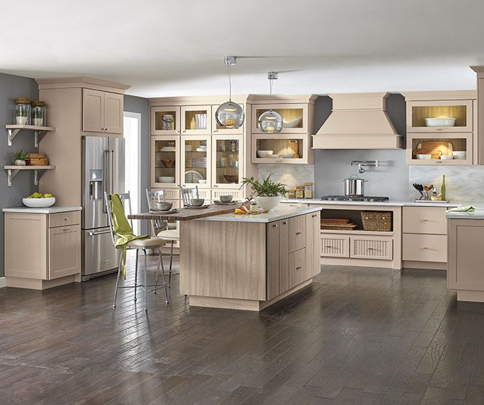 Transitional Kitchen With Beige Cabinets And A Woodgrain Laminate Island Kitchen Remodel Semi Custom Kitchen Cabinets New Kitchen Cabinets
