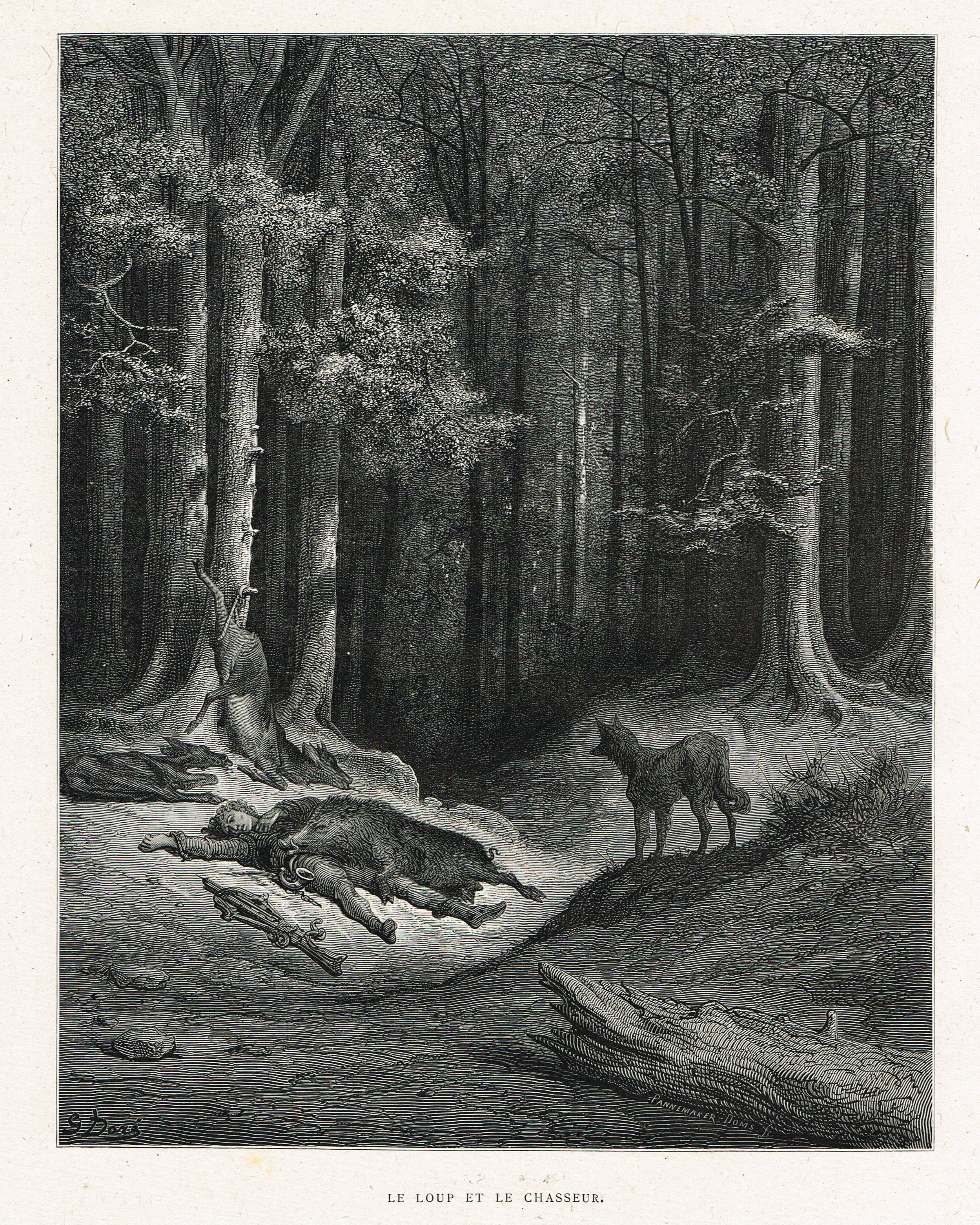 Le Loup Et Le Chasseur Fable De Jean De La Fontaine Illustree Par Gustave Dore Mas Estampes An Dungeons And Dragons Art Literature Art Fantasy Illustration