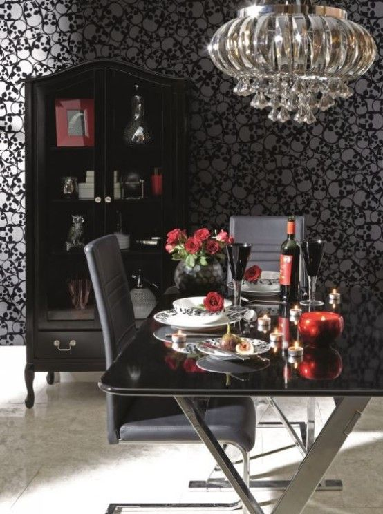 Dining RoomExciting Room Design With Black Chandelier Gothic Wallpaper Ideas Style That Indulges