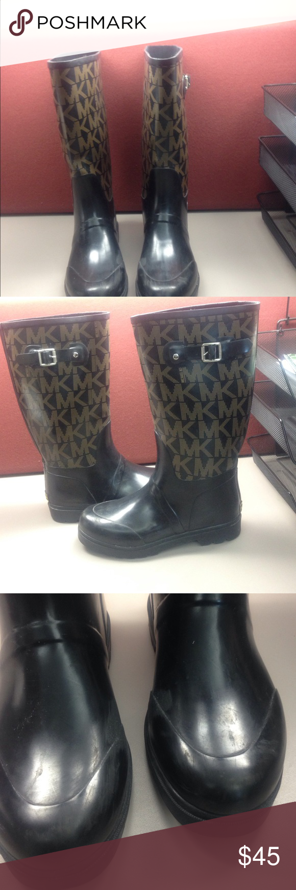 Authentic designer rain boots Monogrammed tan & black rubber knee high boots. Buckle on outer side. Scuffs on vamp. Minor slit on seam of right boot but no through felt lining.  Easy rubber fix Very cute. Michael Kors Shoes Winter & Rain Boots