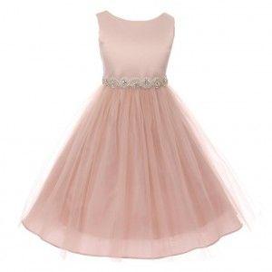 8bcd1407ea0 Big Girls Blush Twist Rhinestone Satin Tulle Junior Bridesmaid Dress 8-12