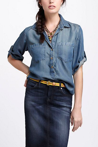 43eae8b2 Repose Pocketed Henley #anthropologie Denim Shirt, Jeans, Casual Tops, Women  Button Down