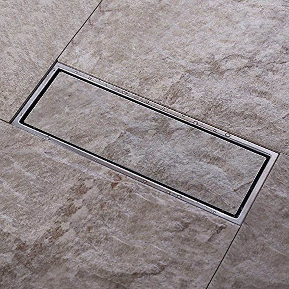 Bathroom Linear Shower Floor Drain with Removable Cover 11.8-Inch Long Brushed