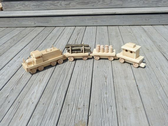 Handmade Wooden Toy Train Set Wood Toys by OutOnALimbADK on Etsy