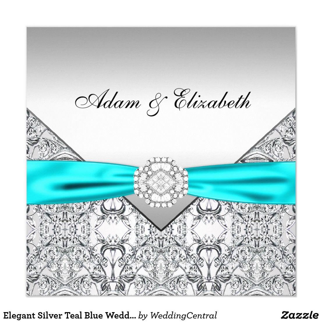 Elegant Silver Teal Blue Wedding Invitations | Invitations ...