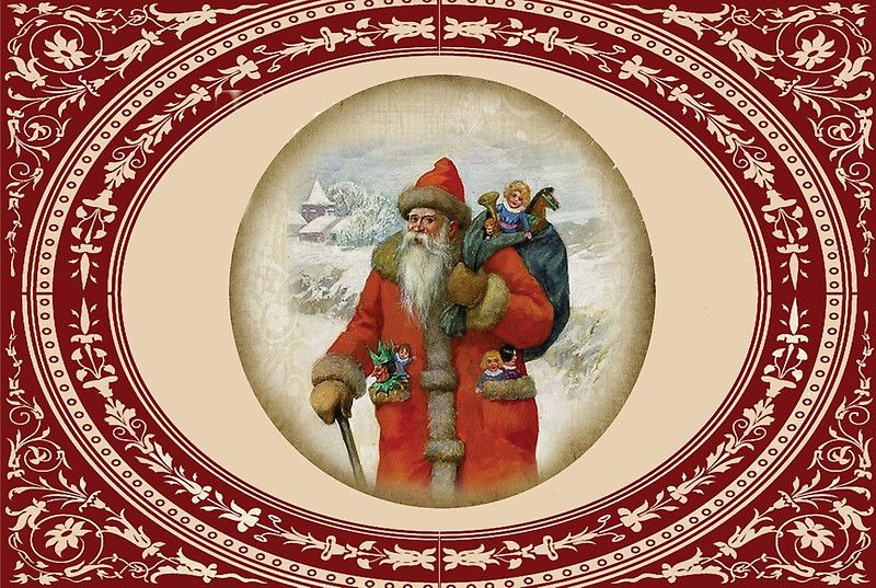 Antique Santa #Christmas Card Holiday Greetings Stickers, Poster, Cards, Shirts, Pillow, Totes, Cases #homedecor #picture