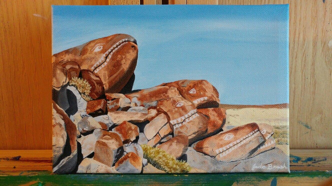 Oil on Canvas 5x7 Fishrocks,  Trona, CA. Painted November 2016 by Jade Brush