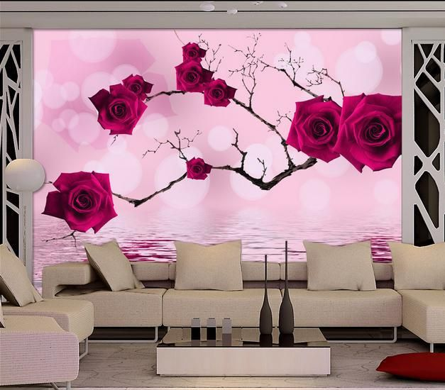 3d wallpaper custom non-woven Red rose water reflection paper TV ...