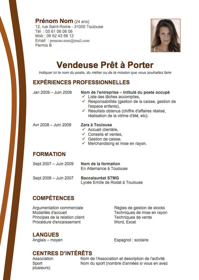 Modele Cv Format Open Office  Projets  Essayer    Cv