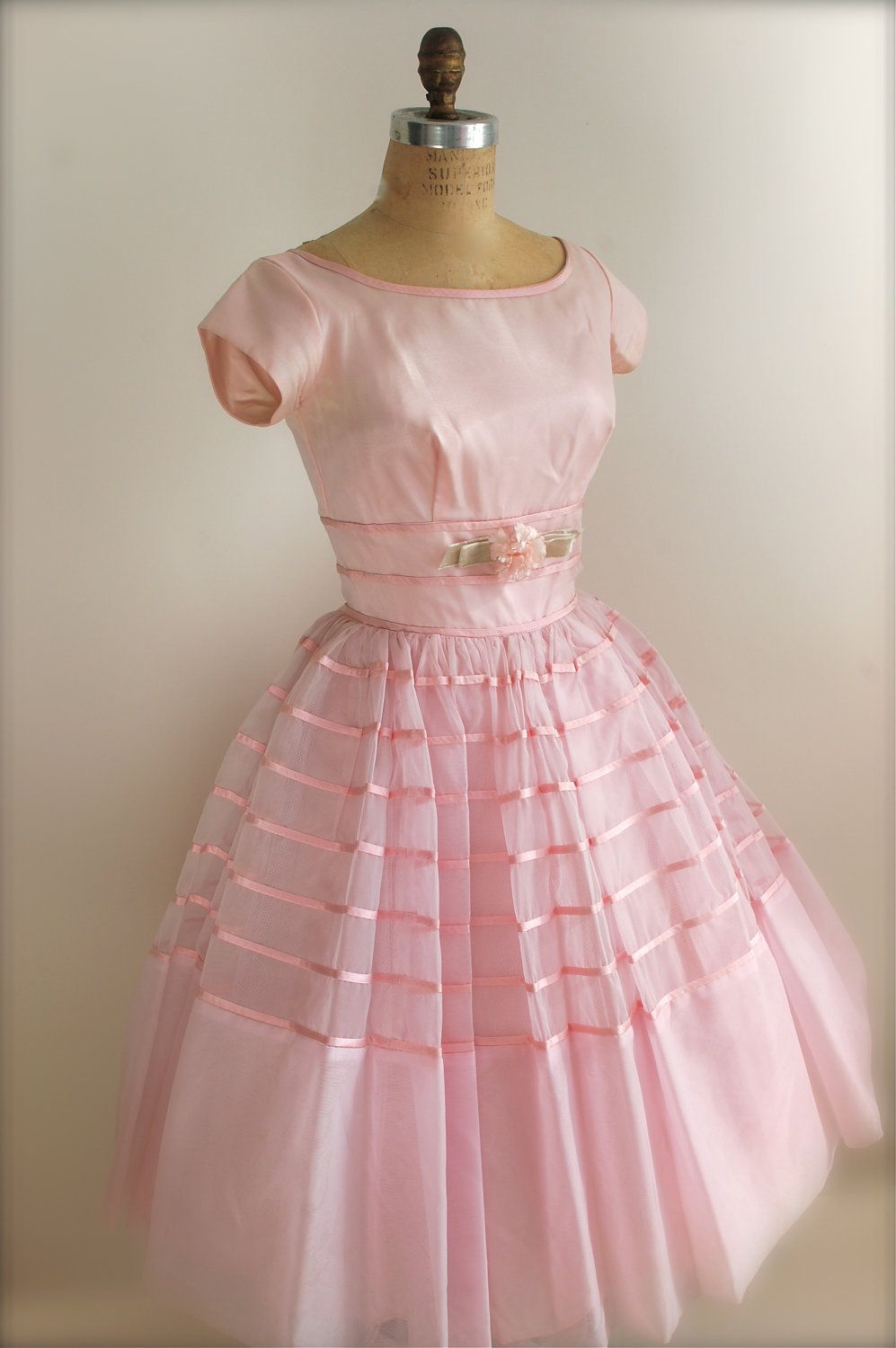 vintage 1950s prom dress pink cocktail dress