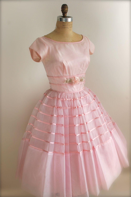Vintage 1950s Prom Dress - Pink Cocktail Dress - Bridesmaid Dress ...