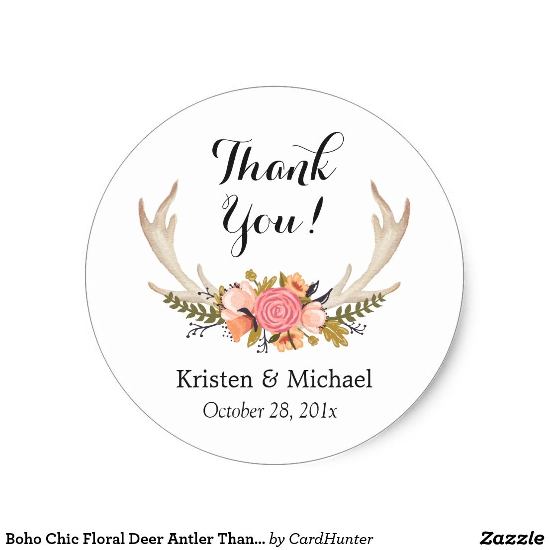 Boho chic floral deer antler thank you classic round sticker
