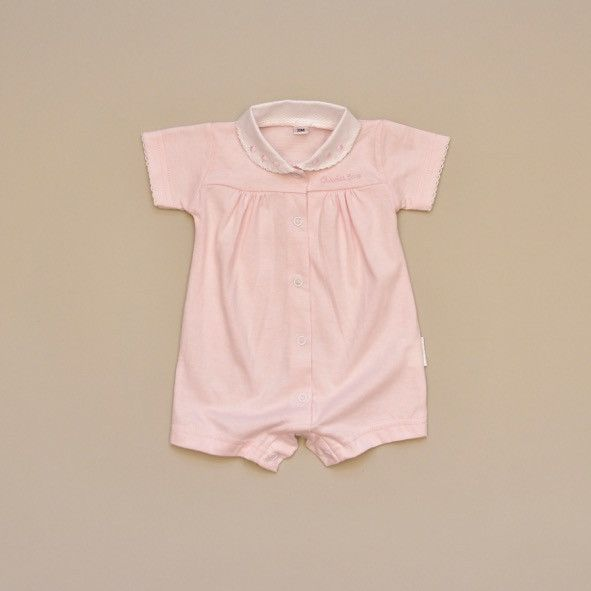 100% Cotton Baby Pink Short Sleeve Romper with White Pique Collar with Embroidered Pink Dots