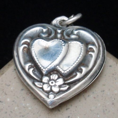 Puffy Heart Charm Vintage Sterling Silver Repousse Engraved Jack & Louise | eBay