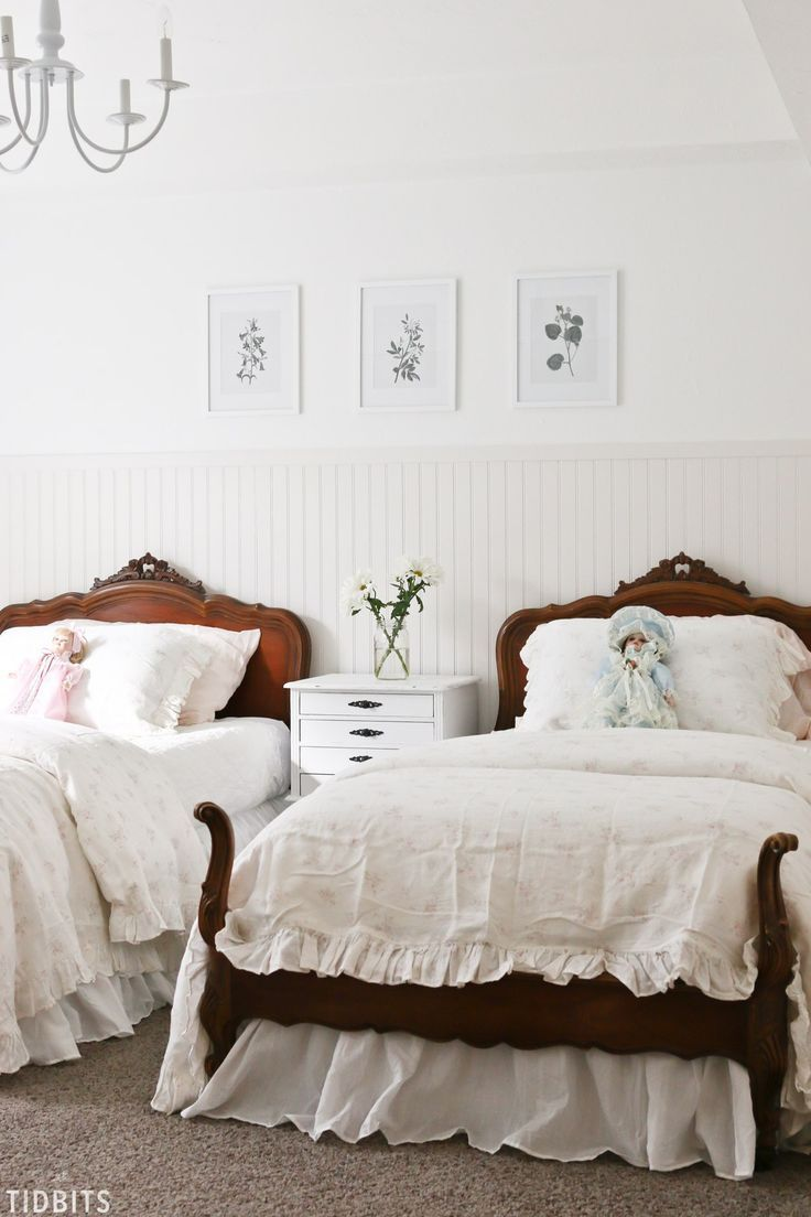 Delicate Florals And A Vintage Bed Frame Complete This Lovely French Cottage Girls Bedroom Makeover