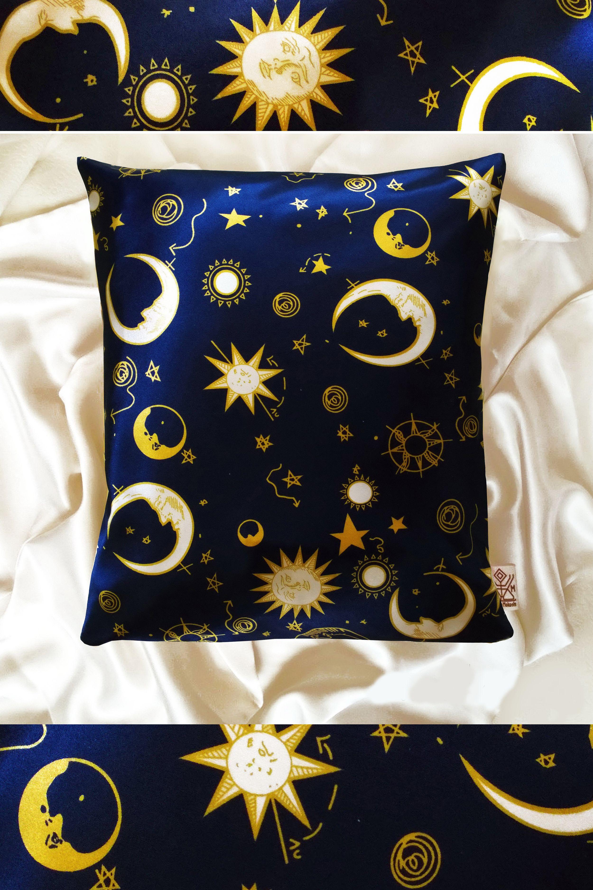 Stars And Moon Pillow Case Night Sky Pillow Blue Satin Cushion Etsy In 2021 Moon Pillow Blue Pillows Navy Blue Pillows