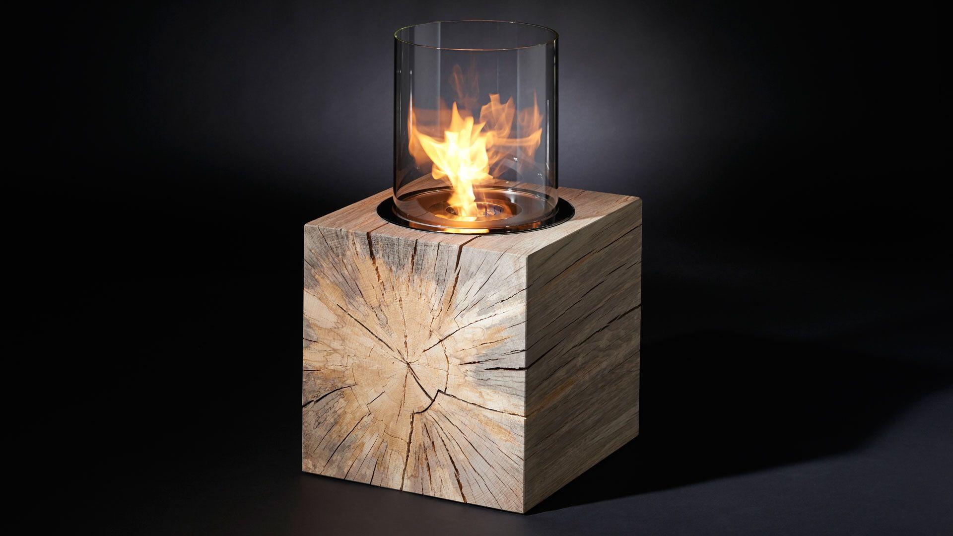Design Feuerstelle In Kubus Aus Wunderschoner Stockbuche Feuerstelle Kaminfeuer Design