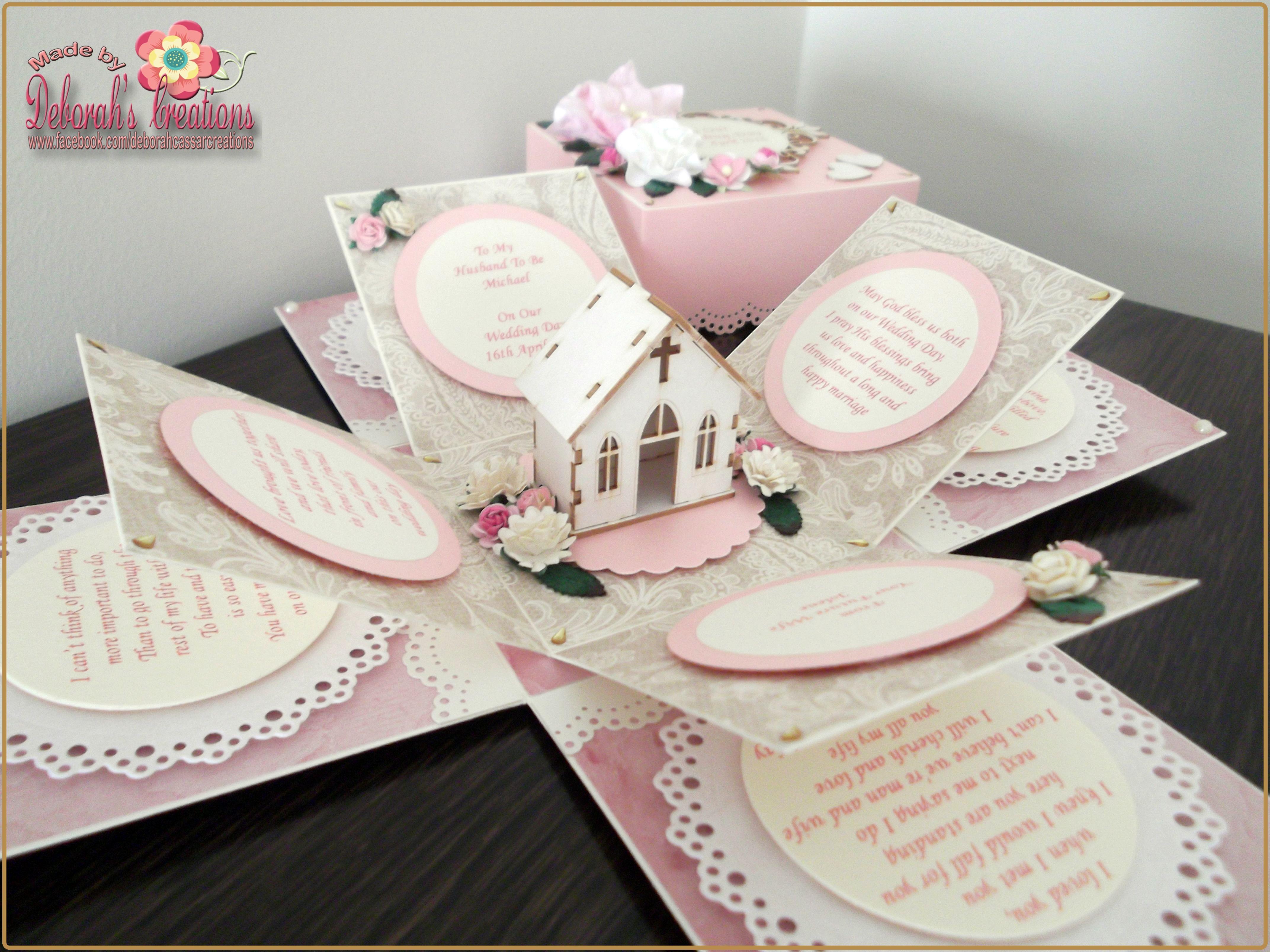 Wedding exploding box card with burlap u church theme crafts