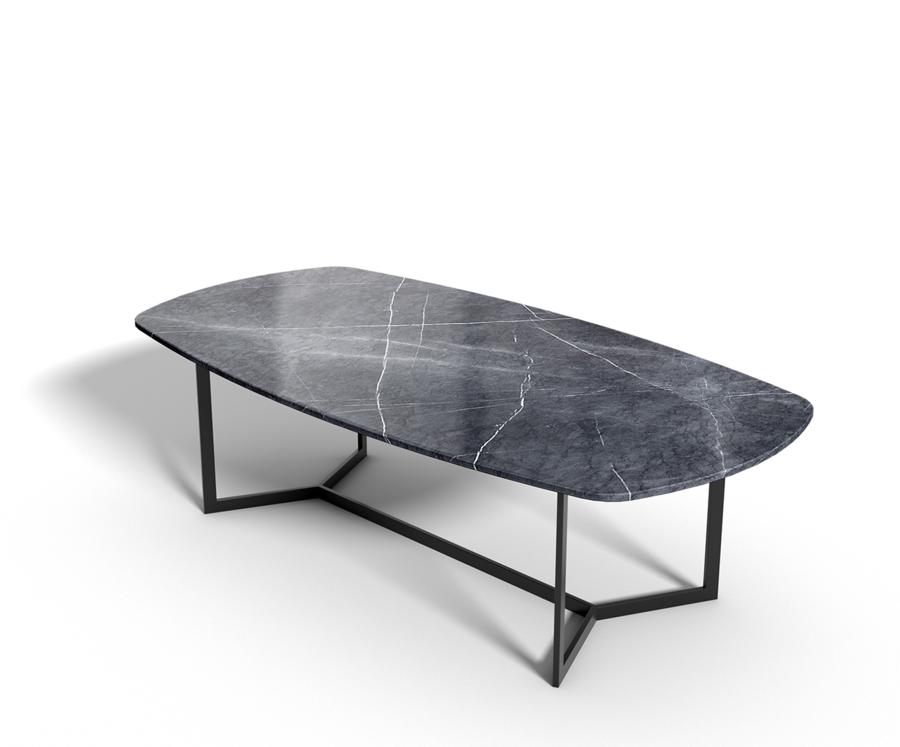 Greystone Marmor   Esstisch oval   schwarzer Rahmen ...