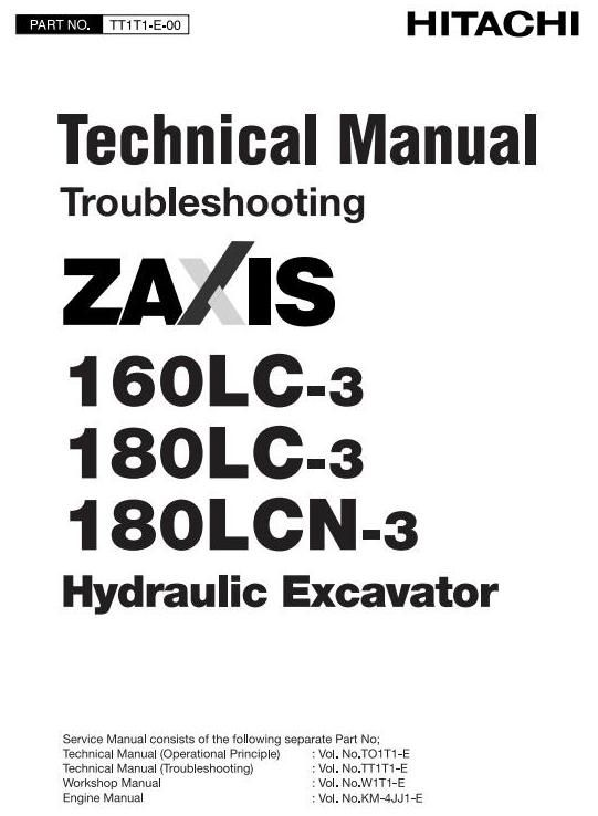 Hitachi Hydraulic Excavator Zaxis 160lc3 180lc3 180lcn 3 Workshop Service Manual Hydraulic Excavator Hitachi High Quality Images