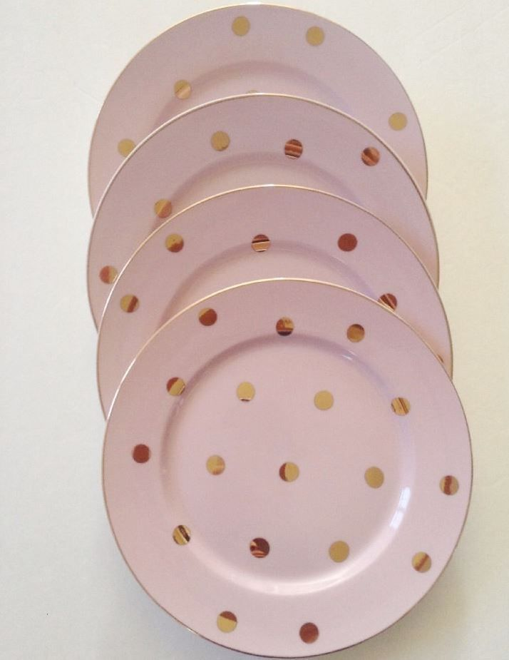 Pink Plates With Gold Polka Dots And Gold Trim With Images Pink Plates Porcelain Dinnerware Plates