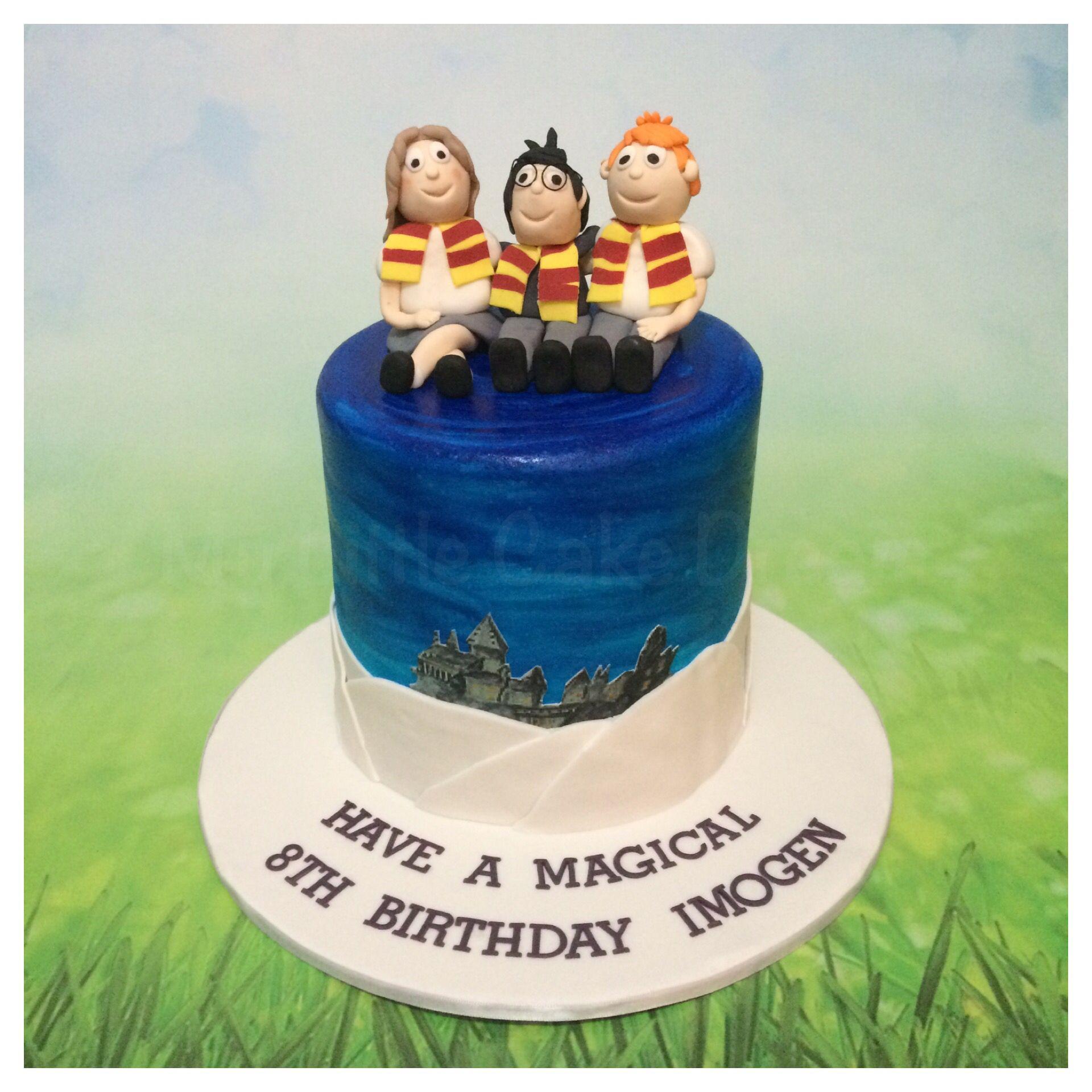 Harry Potter theme cake for Imogen Double barrel chocolate mudcake