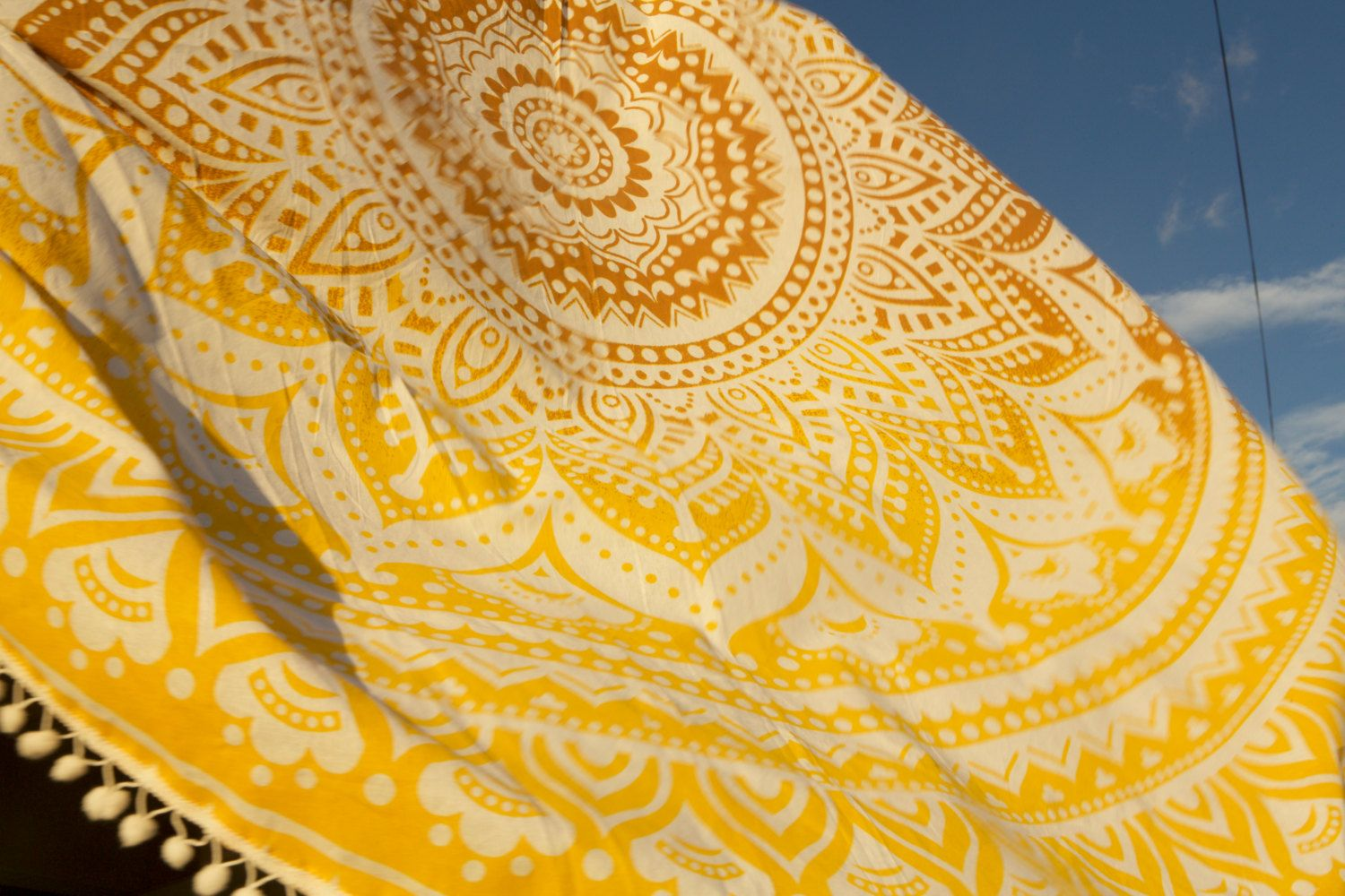 Golden yellow ombre round indian tapestry boho blanket, round beach ...
