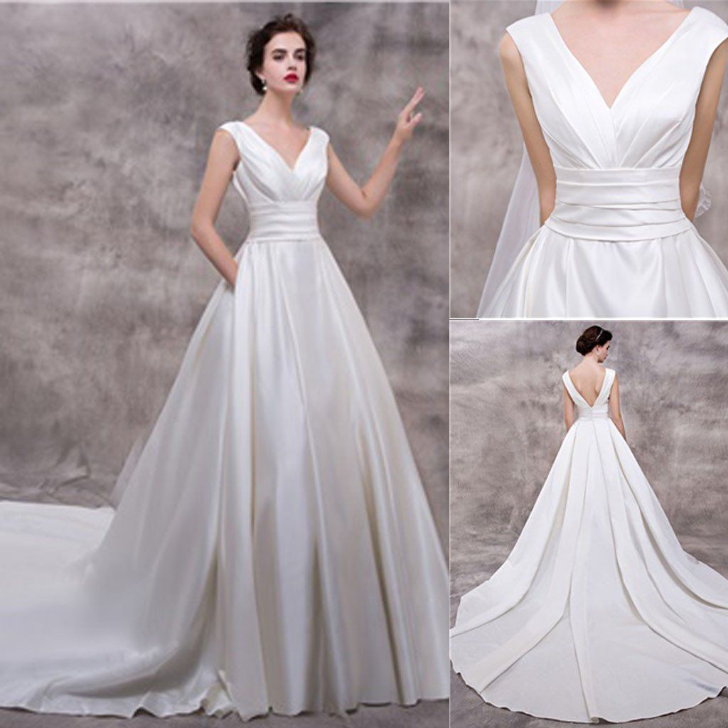 Vantage V-neck Sleeveless Long A-line Popular White Satin Wedding Dres – AlineBridal