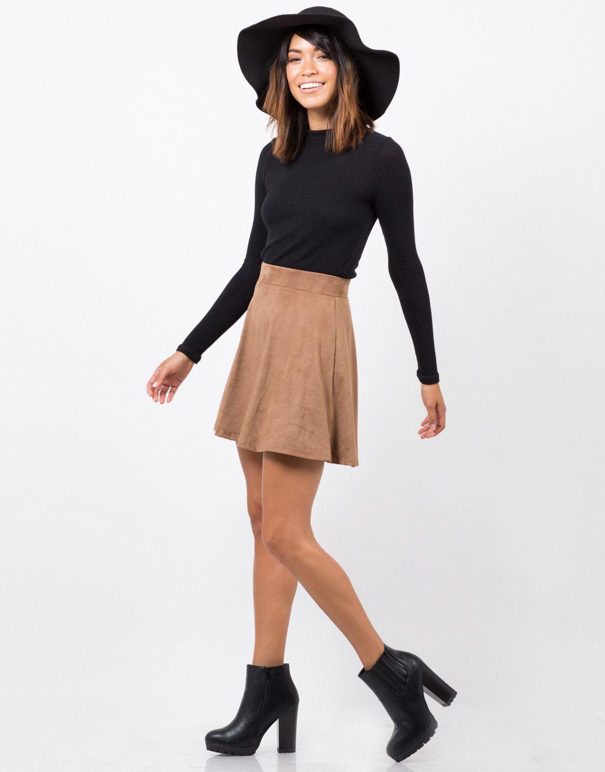 Suede Skater Skirt | Brown skirts and Skater skirt