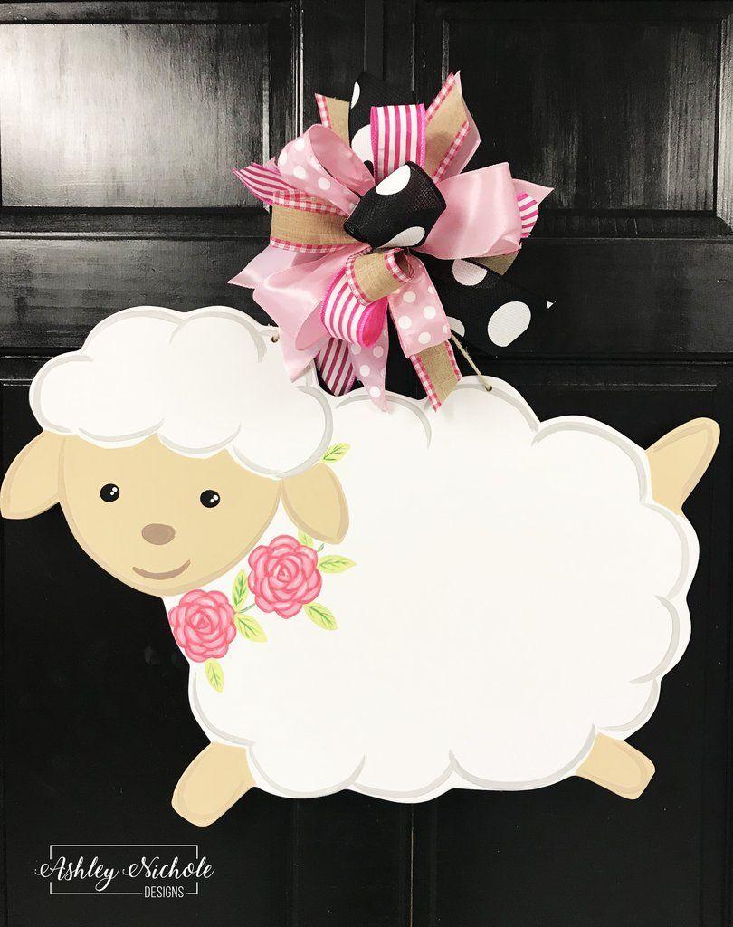Easter sign easter lamb sign Easter lamb door hanger lamb door sign spring lamb door hanger Easter egg door sign easter door hanger