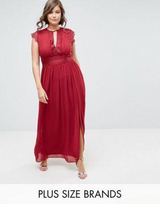 8e91e12c97b TFNC Plus WEDDING Lace Detail Maxi Dress