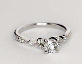 Petite Vintage Pavé Leaf Diamond Engagement Ring in 14k White Gold (1/4 ct