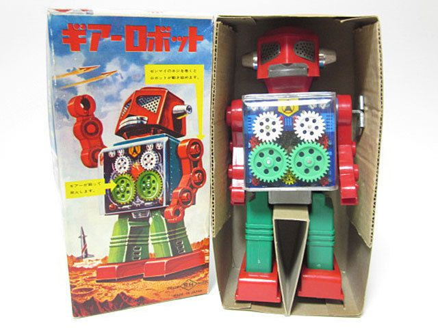 RARE! Japanese 1960's SPRING FIRE Horikawa GEAR ROBOT Cool Cute Antique Tin Toy