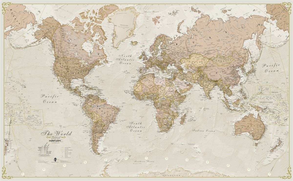 World antique 120 laminated map wall mural products pinterest world antique megamap wall map giant poster 197 x wall decor home gumiabroncs Images