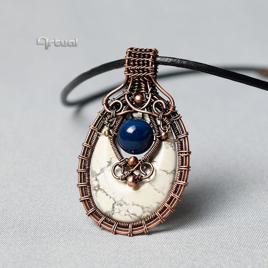 Wire wrapped pendant with Magnesite and blue Agate by artual | Wire ...