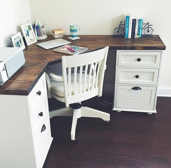 Home Desk Design Ideas: Grace Farmhouse Corner Desk By MagnoliasandHARDWARE On