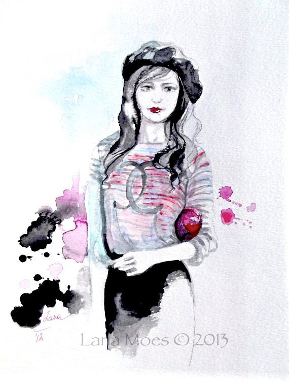 Original Watercolor Illustration Chanel Watercolor Painting by Lana Moes