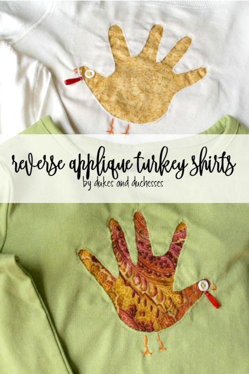reverse applique handprint turkey shirts for Thanksgiving #handprintturkey