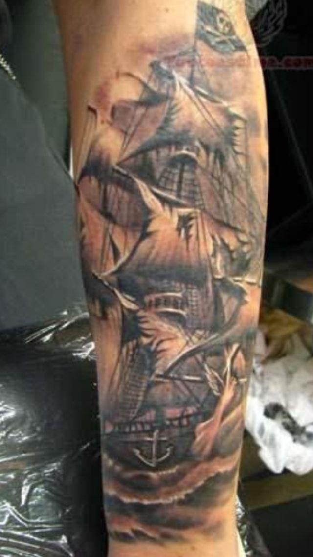 Pirate caravel Ship tattoo