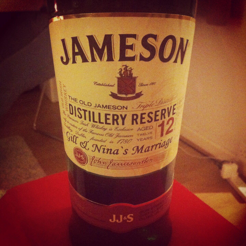Personalised Jameson Whiskey Bottle Wedding Gift Two Shots Each